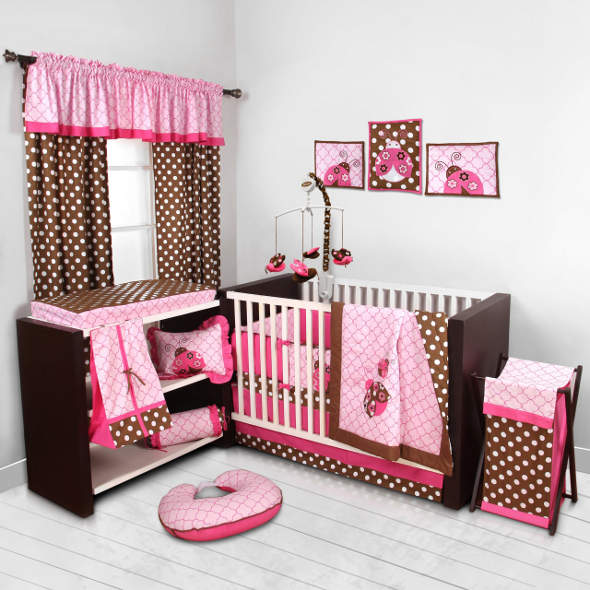 Lady Bugs pink/chocolate 10 pc Crib Set by Bacati