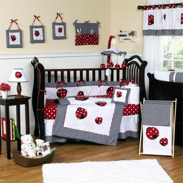 Red & White Polka Dot Ladybug Nursery Set