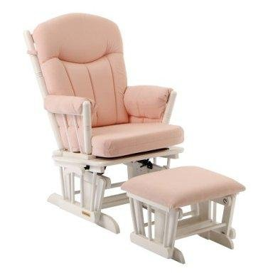 Pink (or Blue) Gingham Glider and Ottoman Set by Shermag