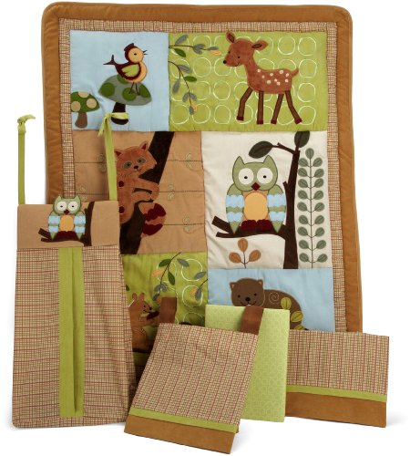 Lambs & Ivy 5 Piece Bedding Set, Enchanted Forest
