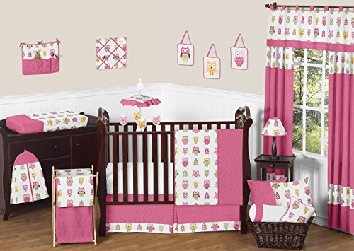 Sweet Jojo Designs Pink Happy Owl Forest Nursery Set