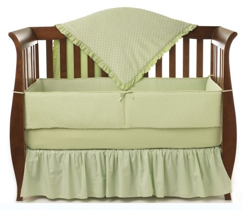 American Baby Heavenly Soft Minky Dot green bedding set for nursery
