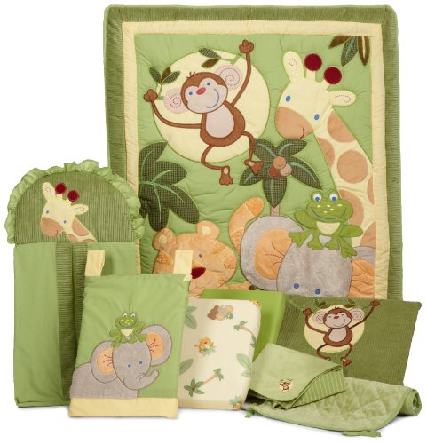 NoJo Jungle Babies 8 Piece Nursery Bedding Set