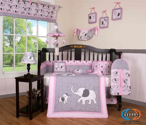 Boutique Pink Gray Elephant 13 piece Nursery Set
