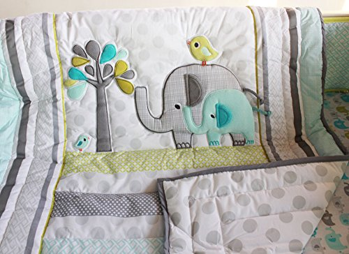 neutral elephant crib bedding