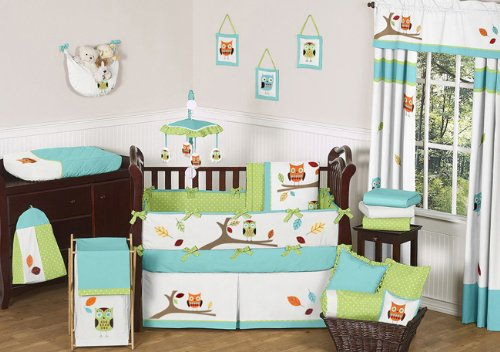 Turquoise and Lime Hooty Owl Nursery Set