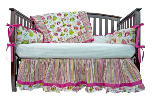 Caught Ya Lookin' Crib Bedding Set, Pink and Green Owls