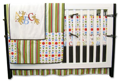 Dr. Seuss 4 Piece green nursery Crib Bedding Set, ABC