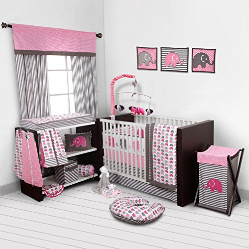 Elephants Pink/Grey 10 pc crib set including Bumper Pad