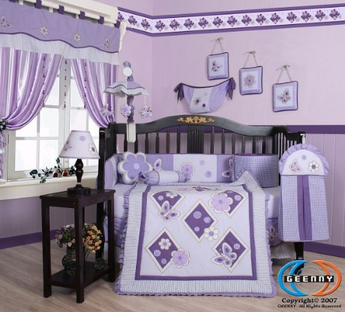 Boutique GEENNY Lavender Butterfly Nursery Complete Crib Set