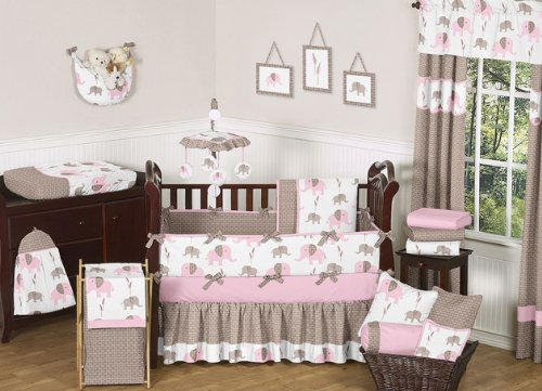Modern Pink and Brown Mod Elephant Baby Girl Bedding 9pc Crib Set