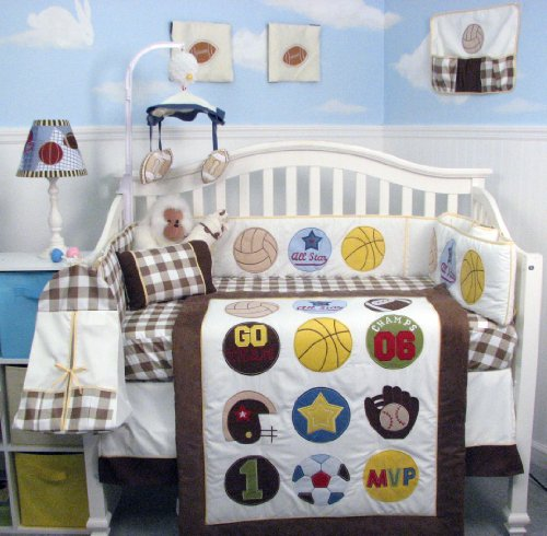 Super Sports Fan Cream and Brown 14-Piece Sports Nursery Set