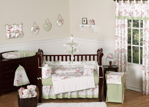 Riley's Roses Pink and Sage Green Shabby Chic Floral Nursery