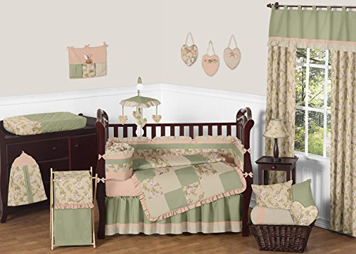 Baby Annabel Sage Green / Antique Pink Floral Baby Girl 9pc Crib Set