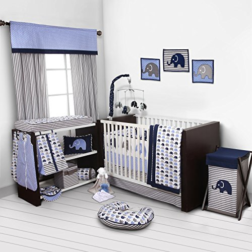 Elephants Blue/Grey 10 pc crib set including Bumper Pad