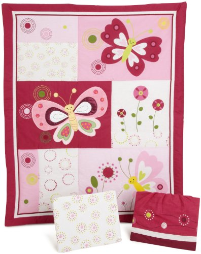 Pink Butterfly Crib Bedding Set Magenta and White
