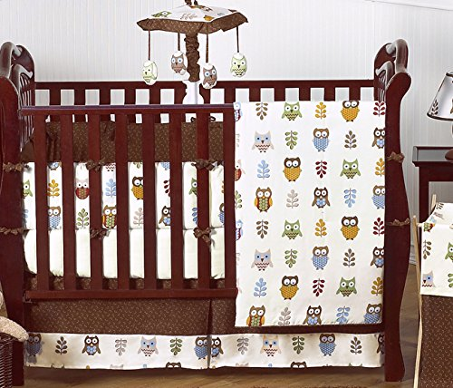 Night Owl Forest Nature Baby Boy Bedding 9 pc Crib Set