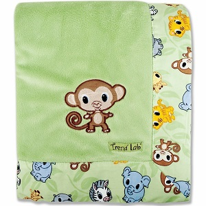 Trend Lab Blanket with Embroidery, Chibi Velour